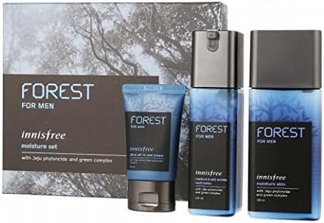 KOREAN COSMETICS, Innisfree, Forest for men moisture set (Moisturizer Skin 180ml + Moisturizer & Anti-Wrinkle Lotion 120ml + Ultra all-in-one cream 30ml)