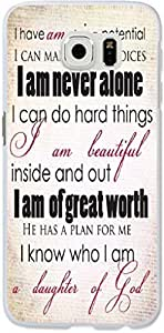 S6 Edge Case Dseason Samsung Galaxy S6 Edge Hard Case High Quality Unique Design Protector quotes i am never alone ,i am of great worth.