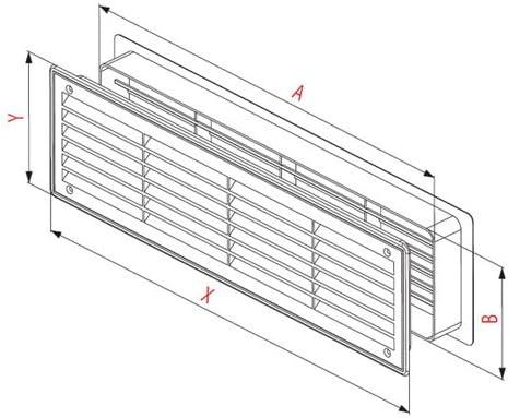 Rejilla de ventilaci/ón para puerta de ba/ño 450/mm x 92/mm de dos cara cubierta de ventilaci/ón pow33 blanco