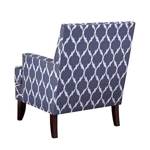 Madison Park Colton Accent Chairs - Hardwood, Brich Wood, Ogee Print, Bedroom Lounge Mid Century Modern Deep Seating, High Back Club Style Arm-Chair Living Room Furniture, Blue/White