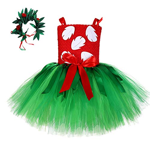 Hawaiian Tropical Fern Leaf Costume for Girls Hawaii Holiday Party Tutu Dress with Wreath (Red and Green, Small(1-2T))