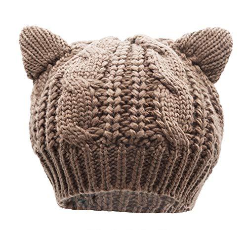 Bellady Women's Hat Cat Ear Crochet Braided Knit Caps,Khaki