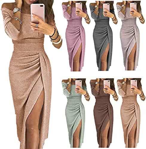 01dc1d981ecec Womens Off Shoulder Sexy High Split Half Sleeve Evening Cocktail Party Long  Maxi Dress