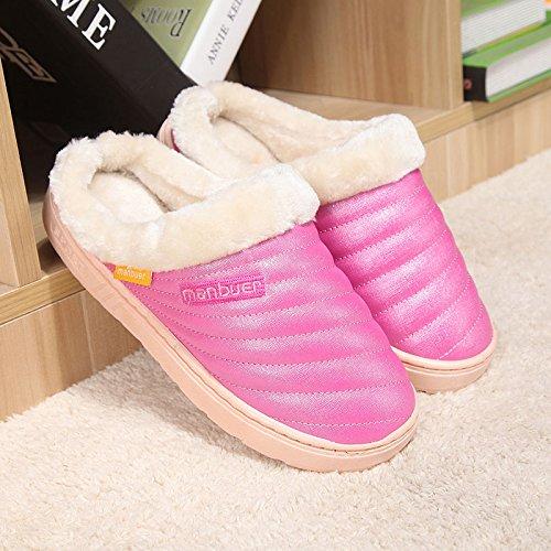 Fankou Autunno e Inverno candy in cotone colore pantofole cartoon home pantofole pavimento interno morbido, disattivato le coppie calde pantofole ,40, rosa 066