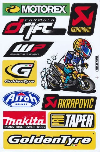 Sponsors STICKER Tuning Racing Motocross Autocollant feuille 27 x 18 cm by soljo A268-TO