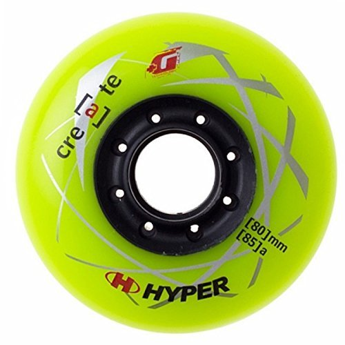 HYPER CREATE+G LIME GREEN 80MM/85A (4 WHEELS per pack) - inline wheels for freeride, recreational and slalom ()