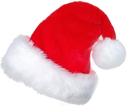 Santa Christmas Hat With Bell Xmas Fancy Dress Costume Outfit Adult Size Unisex