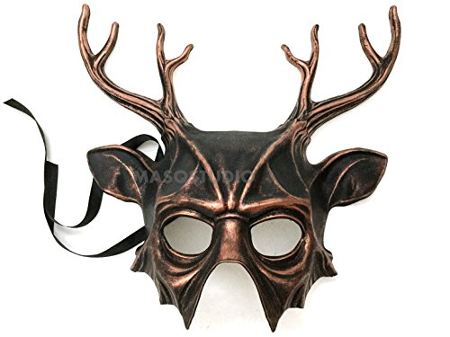 MasqStudio Horned Deer Mask Animal Masquerade Halloween Cosplay Haunted House Party mask Art Wall Deco (Copper)]()