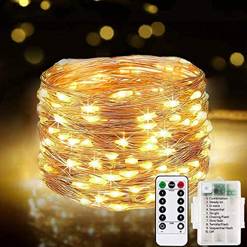 [2 Pack] Fairy Lights 120LEDs, 13M 8 Modes String Lights Battery Operated, Copper Wire Lights Waterproof Indoor/Outdoor with Remote Timer for Girls Boys Bedroom, Party, Wedding, Christmas (Warm White)