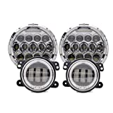 TURBO SII 7 Inch Chrome Projector Lens Led Headlights With DRL Hi/lo Beam + 2pcs 4
