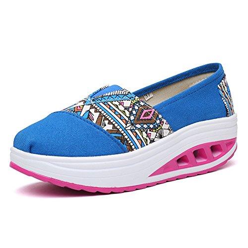 de de Sacudida de de Lona Zapatos señoras Gruesos atléticos Lona de Zapatos Mujer de Zapatos Color la Sacudida de tamaño Zapatos Azul Sacudida Las Comodidad 37 Zapatos Zapatos UBtIqIw