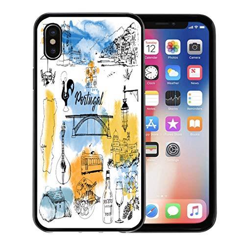 (Emvency Phone Case for Apple iPhone Xs Case/iPhone X Case,Drawn Lisbon Portugal Watercolor Cityscape Hand Architecture Building Casa Soft Rubber Border Decorative, Black)
