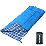 KingCamp Sleeping Bag Envelope Comfort Lightweight Portable 4 Season Warm Cool Weather Adult Easy Compress with Compression Sack for Camping Hiking 44.6F/7C (Blue) For Sale