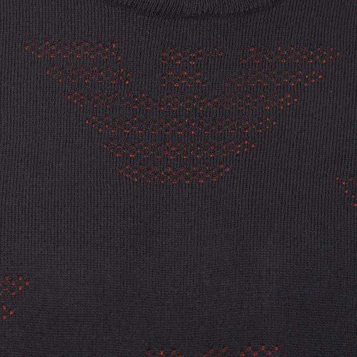 Antracite Microforate Armani Girocollo Maglia logo 6z1my8 Aquile Uomo Emporio Cw8vpxnqff