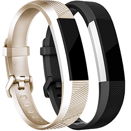 Tobfit Compatible Silicone Bands [2 Pack] Replacement for Fitbit Alta Bands/Fitbit Alta HR Bands, Classic Accessories Sport Wristbands Large, Champagne Gold, Black