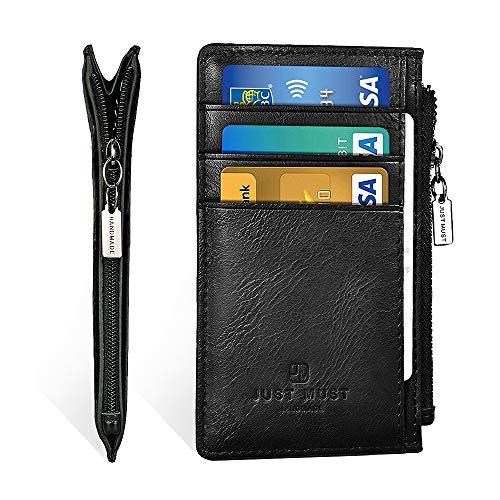 Slim Minimalist Wallet RFID Front Pocket Credit Card Holder for Men & Women Leather Wallet with Keychain
