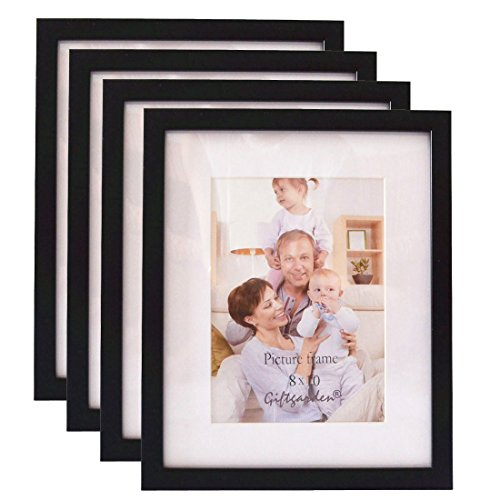 Giftgarden 8 by 10 Inch Black Wood Picture Frame for Photo 8x10 Set of 4, PVC lens