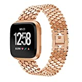 Huangou for Fitbit Versa Watch Wrist Straps,Accessory Replacement Fashion Unique Stainless Steel Watch Band Wristband Sport Bracelet for Fitbit Versa (5.12-8.07nches, Rose Gold)