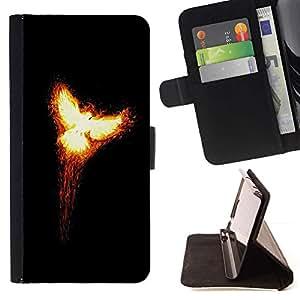 For LG Nexus 5 D820 D821 Case , Flaming Phoenix 2- la tarjeta de Crédito Slots PU Funda de cuero Monedero caso cubierta de piel