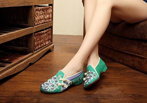 &QQ Zapatos bordados, lenguado de tendón, estilo étnico, hembrashoes, moda, cómodos zapatos de lona Green