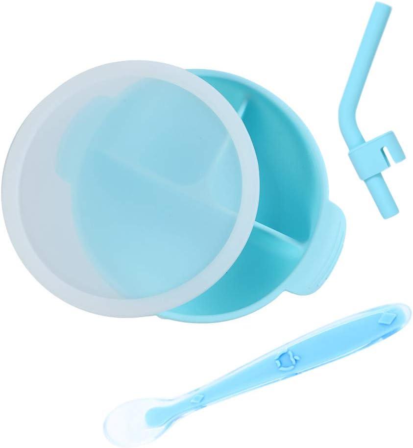 Ventouse Forte Antid/érapant pour Enfant B/éb/é Nourrisson DEBAIJIA Bol et Cuill/ère Set en Silicone de Grade Alimentaire avec Couvercle FDA Approuv/é Sans BPA Bleu Micro-ondes S/écuritaire