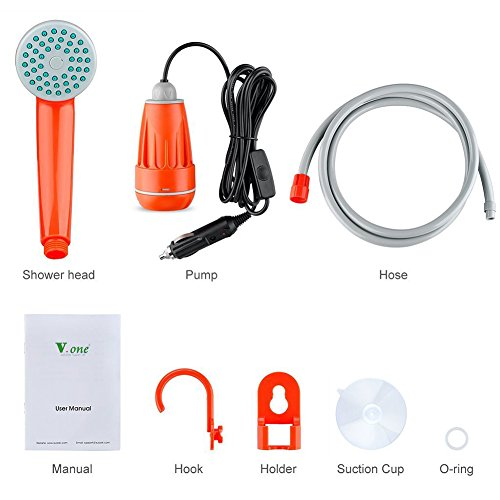 Vone-12V-Camping-shower-with-submersible-pump-Camping-shower-Camping-showers-Solardusche-Garden-shower-Portable-pool-shower-Warm-water-for-camping-car-outdoor