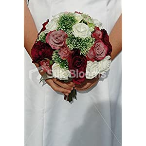 Burgundy, Pink and Ivory Vintage Rose Bridal Bouquet w/ Allium 27