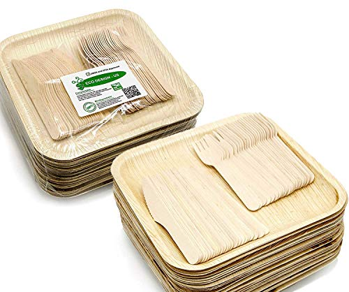 Party Set of 150 Eco-Friendly Dinnerware - 50 Large Square 10 Palm Leaf Plates, 50 Wood Forks, 50 Wood Knives - Elegant Disposable Compostable