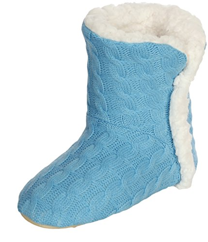 Emmalise Womens Slipper Boots Indoor Lounge Bontschoenen Fur Boots Voor Dames Cable Knit Turquoise