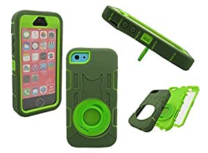 Case For Sam Sung Galaxy S5 Cover SHOCKPROOF CASE, Mobile King USA Case For Sam Sung Galaxy S5 Cover /5c Shockproof Wrap up High Impact Rugged Case with Ring Kick up Stand (Hunter Green/Lime Green)