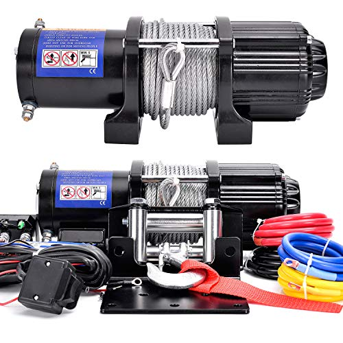 DCFlat 12V 4500LBS Wire Rope Electric Winch for Towing ATV/UTV/Boat Off Road with Mounting Bracket Wireless Remote Control (4500LBS) (JP-4500-A)