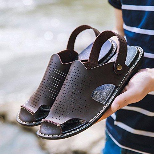 I nuovi sandali di estate Uomini doppio usura Sandali antisdrucciolevoli Sandali di microfiber Tempo libero Beach flip flops, Brown, UK = 8, EU = 42