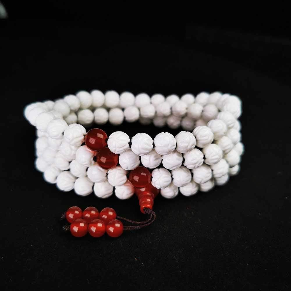 HJkkls 108 Collar De Cuentas De Mala 8mm Jade Blanco para Mujer, Colgante De Meditación De Yoga, Pulsera De Oración Budista Tibetana