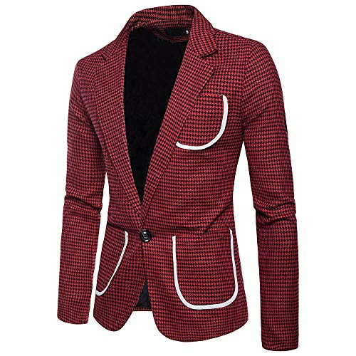 Charm Men's Casual One Button Fit Suit Blazer Coat Jacket Houndstooth Top