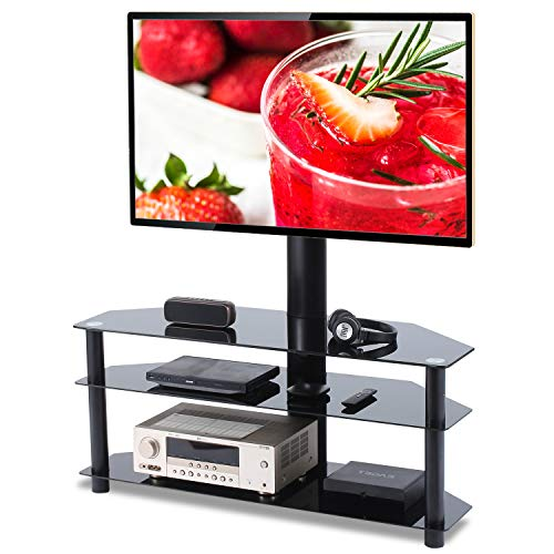 Universal Swivel Corner Floor TV Stand with Mount and Bracket for 37 42 47 50 55 60 65 70 inch Plasma LCD LED Flat or Curved Screen TVs,Weight Capacity 110lbs