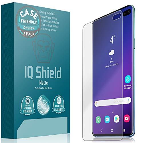 IQ Shield Matte Screen Protector Compatible with Galaxy S10 Plus 6.4 inch (Case Friendly)(2-Pack) Anti-Glare Anti-Bubble Film (NOT Compatible with Verizon S10 5G 6.7 inch)