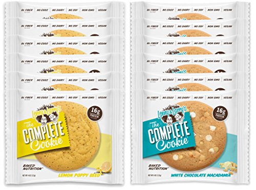 Lenny & Larry's The Complete Cookie - 6 Lemon Poppy Seed and 6 White Chocolate Macadamia (Pack of 12)