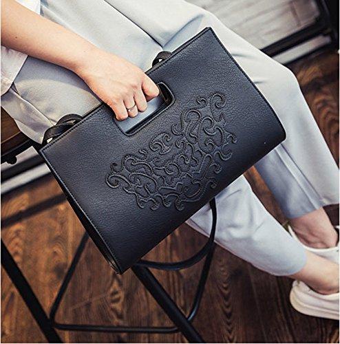 VRLEGEND Leather Top Handle Handbags Crossbody Shoulder Bag Tote Wallet Purse Evening Clutch Bag for Women (Black) by VRLEGEND (Image #6)
