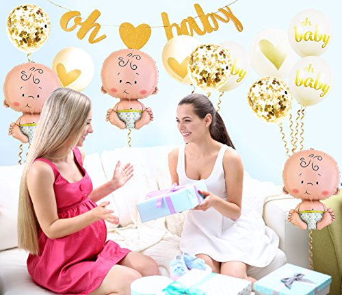 Baby Shower Party Decorations Kit Unisex, Girls and Boys | Oh Baby Banner Neutral Decor | 12 Pcs Balloon Set | Glitter Unisex Pregnancy Announcement Gender Reveal Party | 50 Pcs Premium Baby Shower Emoji Game Cards by Newborn Party (Image #5)
