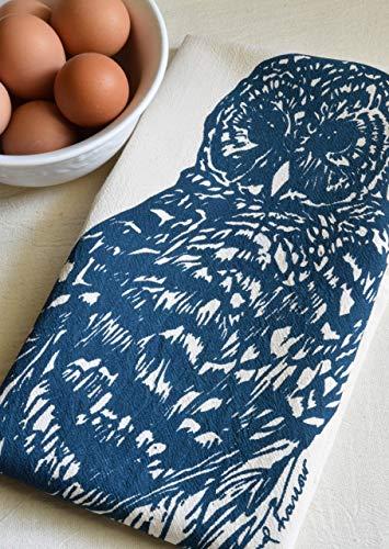 Owl Tea Towel in Navy Blue