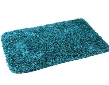 Badematten Türkis badematte shaggy badvorlage 50x70 cm rutschhemmender rücken dunkel