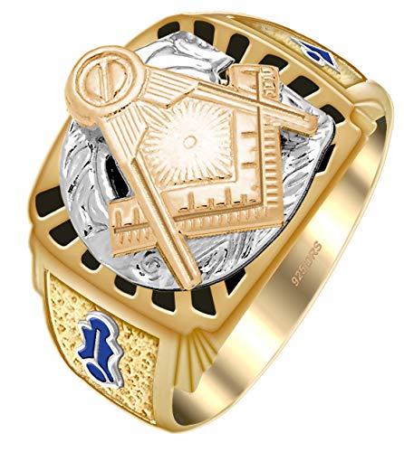 Customizable Men's Two Tone Vermeil Solid Back Master Mason Freemason Masonic Ring, Size 10