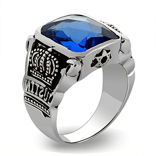 MetJakt Blue Topaz Rings Vintage Crown Rings Solid 925 Sterling Silver Ring for Men's Jewelry Boutique Collections (Topaz Crown Ring)