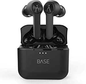 BASE LINE True Wireless Earbuds Headphones: 32+ Hours, Bluetooth 5, Dual-Mic Noise Canceling, Charging Case. Deep Bass Sound Headset, Small Earphones for Android Samsung & iPhone (With Volume Control)