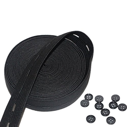 Waist Elastic Button (Button hole Elastic Spool 3/4-Inch Wide Knit Stretch Band and 10pcs Resin Buttons,Black)