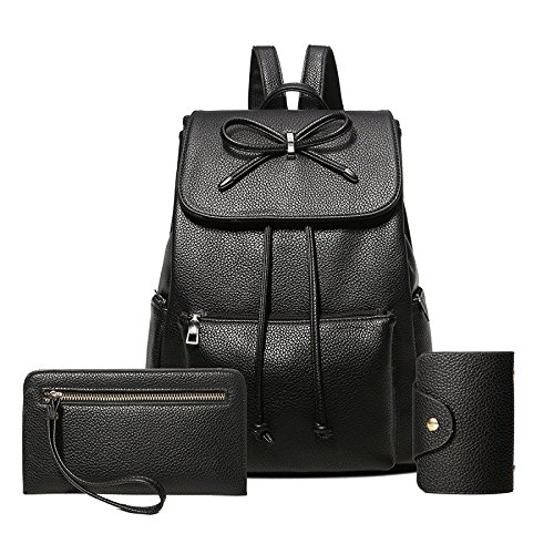 3 Womens Bag With Backpack Daypack Bowknot Black Pack Casual Shoulder Schoolbag Leather BwHFqzB6