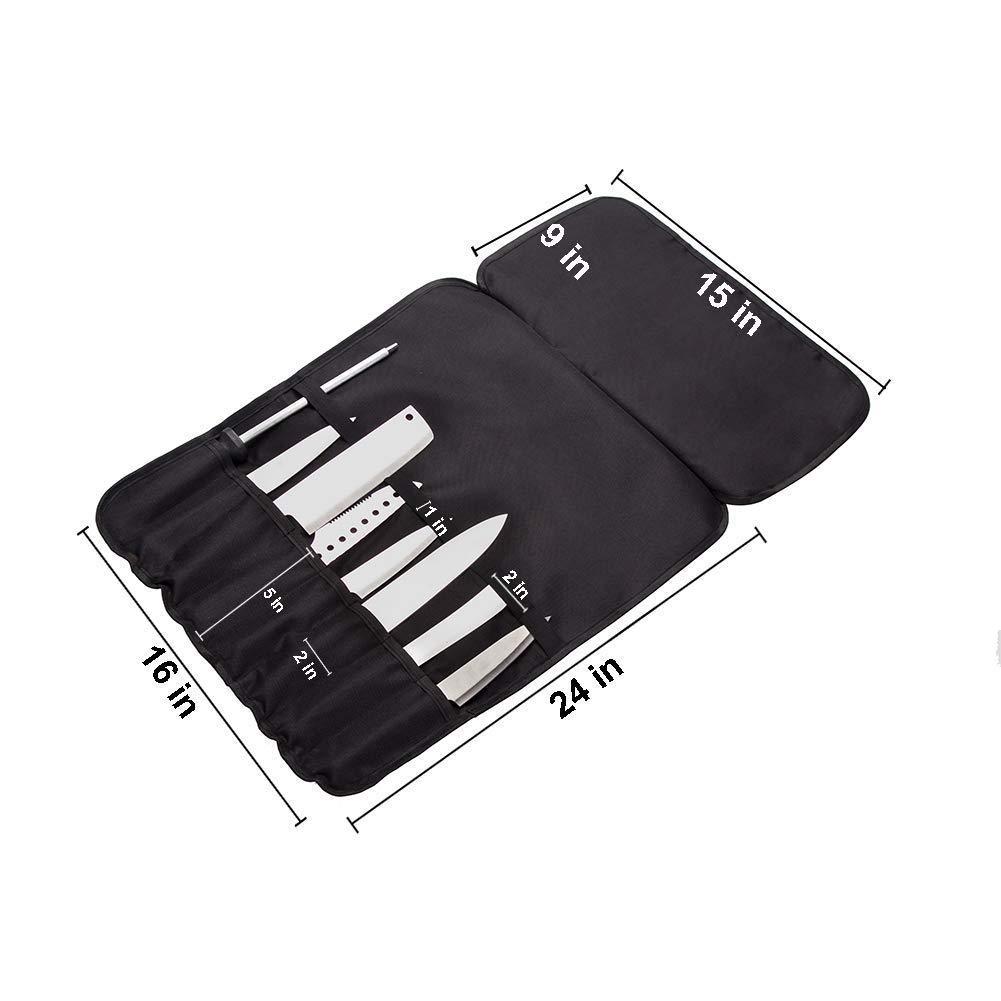 8 ranuras Chef bolsa de rollo de cuchillos - Durable e impermeable rollo de utensilio con correa de hombro y soporte - Organizador de cuchillos para ...