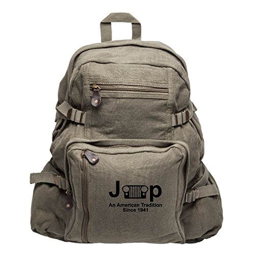 Jeep An American Tradition Since 1941 Army Sport Heavyweight Canvas Backpack Bag in Olive & Black, Large