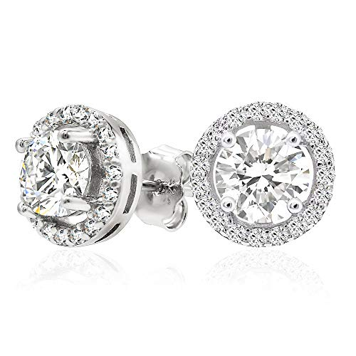 925 Sterling Silver Round Brilliant Cut Cubic Zirconia Halo Stud Earrings Center Stone 6mm