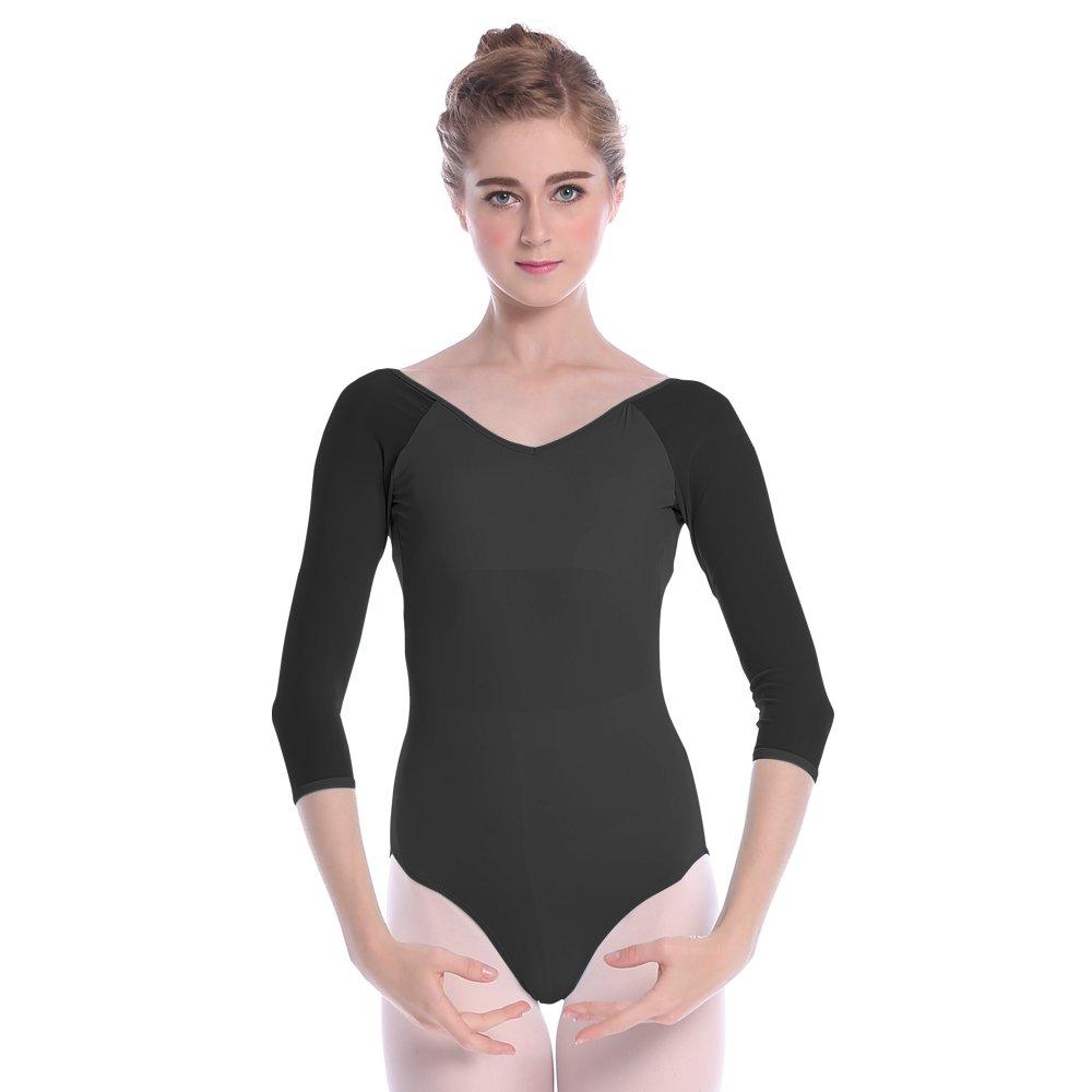 e232dfa83e99 Amazon.com  Girl s Ballet Leotard with 3 4 Sleeve,V-neck Dance ...